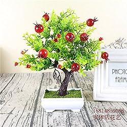 Unechte Blumen Kleine Topfpflanzen Simulation Pflanze Kleine Bonsai Eingemachte Blumen Reichen Orange Desktop Granatapfel Obst Anzeige, 077 Bonsai Granatapfelbaum