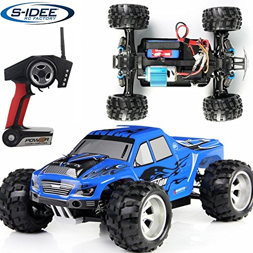 s-idee® 18107 A979 RC Auto Monstertruck 1:18 mit 2,4 GHz 50 km/h schnell, wendig, voll digital proportional 4x4 Allrad WL Toys ferngesteuertes Buggy Racing Auto