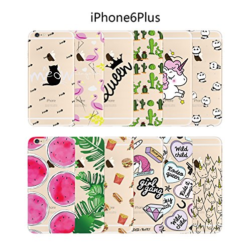 Yokata Coque iPhone 6S Plus, iPhone 6 Plus (5.5 inch) Transparente Motif Plume Housse Étui Doux Ultra Mince Etui iPhone 6S Plus / 6 Plus Silicone Souple TPU Gel Bumper en Clair Soft Case Flexible Back Licorne