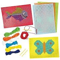 Baker Ross Kits de Punto de Cruz Que los Niños Pueden Diseñar, Coser y exhibir (Pack de 6).