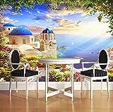 3D Fototapete Aegean Romantic Castle Ocean Seagull Schiff Wandgemälde Wohnzimmer Wanddekoration Home Wallpaper Modern, 260X180Cm (102.36X70.87 In)