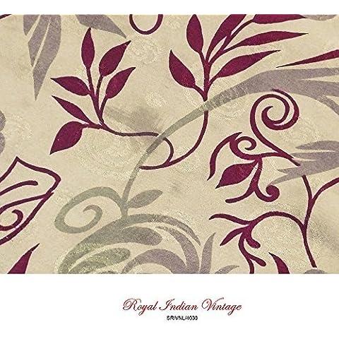 hoja impresa sari costura cortina cortina de color beige de tela de la vendimia vestido sari mujeres crepé 5YD utilizado tela artesanal mezcla de seda de tela reciclada envuelven la decoración del hogar del arte indio sarong