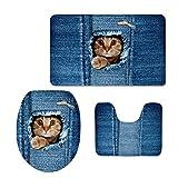 Coloranimal Imprimé Denim Bleu Tapis de bain Ensemble de chat mignon Chien Motif Tapis de salle de bain Housse d'abattant WC