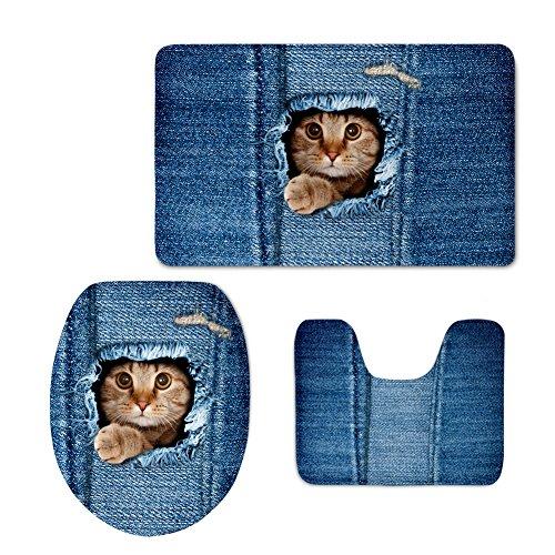 Teiliges Teppich Set 4 (coloranimal blau denim print Bad Teppiche Set süße Katze Hund Muster Badteppich WC-Deckelbezug Modern cat pattern-4)