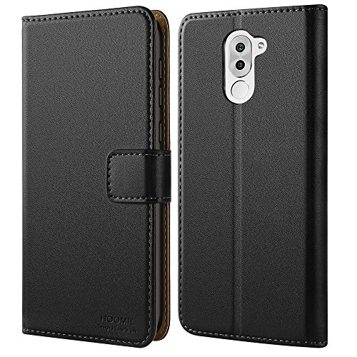Honor 6X Hülle, HOOMIL Handyhülle Huawei Honor 6X Tasche Leder Flip Case Brieftasche Etui Schutzhülle für Huawei Honor 6X Cover - Schwarz (H3029)