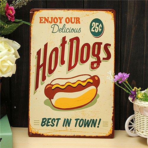 Speedmar UK Mode Wohnkultur Metall Plaque Blechschild Hot Dogs Blech Zeichnung Retro Metall Malerei Pub Club Cafe Home Poster Zeichen Tin Decor (Hot-dog-malerei)