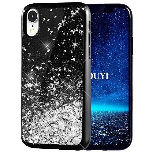 KOUYI Cover iPhone XR, 3D Glitter Liquido Silicone TPU Bumper Telefono Cellulari Smartphone Protezione Cover,Luxury 3D Bling Protettiva Case Custodia per Apple iPhone XR 6.1 Pollice (Argento)