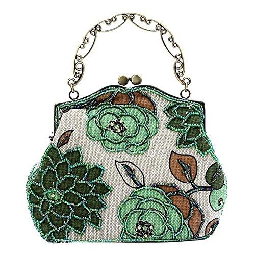 Urbancoco Damen klassisches luxus perlen Clutche Handtasche Abendtasche grün modell A