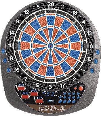 Elektronik-Dartscheibe Future für bis zu 8 Spieler mit 12 Darts ist eine Wettkampfscheibe