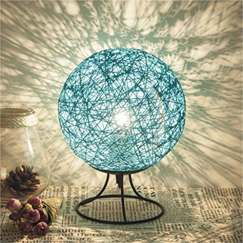 JIAHONG Lampada da scrivania sferica in linea di lino, lampada da notte a scomparsa camera da letto, lampadina LED E27 a pulsante ( Color : Blue )