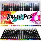 Huttoly Brush Pen Set 20+1 Watercolor Pinselstifte, Aquarellstifte 20 Farben und einem befüllbaren Wassertankpinsel für Kalligraphie, Malen, Hand-Lettering, Zeichnungen und Geschenk