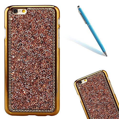 "Dur Plastique Protecteur étui avec Plaquage Bord pour Apple iPhone 6/6s 4.7"", CLTPY Mode Beau Gelée Paillette Shiny Diamant Etui, Ultra Fine Clair Shell de Protection Bumper Case pour iPhone 6,iPhone  Champagne Or"