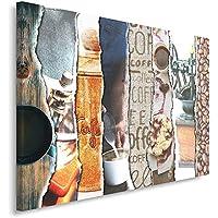 Feeby Frames, Quadro pannelli, Pannello singolo, Quadro su tela, Stampa artistica, Canvas 50x70 cm, MODERNO, COLLAGE, DOLCI, GRANO, CAFFÈ, TAZZA, MARRONE, MULTICOLOR