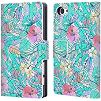 Official Micklyn Le Feuvre Pretty Pastel Hawaiian Florals Leather Book Wallet Case Cover For Sony Xperia Z5 Compact