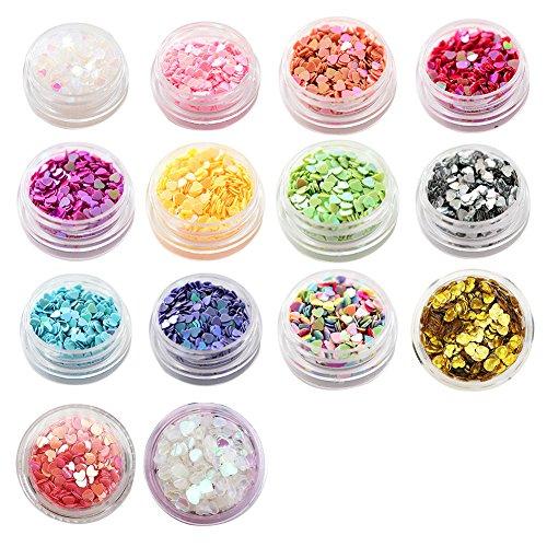 Quemu Co.,Ltd.. Paillettes Mixtes Paillettes Cœur Fard à paupières Paillettes Maquillage Conseils Nail Art DIY Beauté Outils 14 Couleurs (Type A)