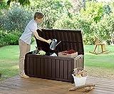 Keter Glenwood Outdoor Plastic Storage Box Garden Furniture, 128 x 65 x 61 cm - Brown
