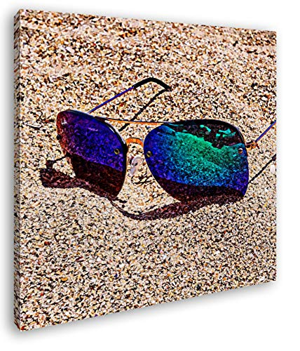 deyoli sandiger Blick durch die Sonnenbrille Format: 40x40 Effekt: Zeichnung als Leinwandbild, Motiv fertig gerahmt auf Echtholzrahmen, Hochwertiger Digitaldruck mit Rahmen, Kein Poster oder Plakat