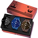 ARMADO 5702 Combo of 3 Different Colour Analogue Watch for Men and Boys
