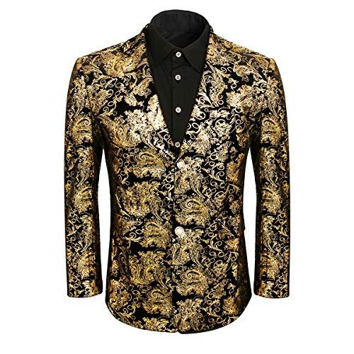 Jila Herren-Kleid mit goldfarbenem Blumenmuster, Slim-Fit, für Hochzeit, Abschlussball, Party, Gekerbtes Revers - Gold - L (Gala-dinner)