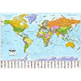 Politische Weltkarte mit Flaggen: 1:30 Mio. Deutsche Beschriftung, mit Oberflächenlaminat