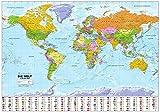 Politische Weltkarte mit Flaggen: 1:30 Mio. Deutsche Beschriftung, mit Oberflächenlaminat -