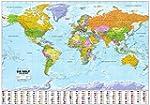 Politische Weltkarte mit Flaggen: 1:3...