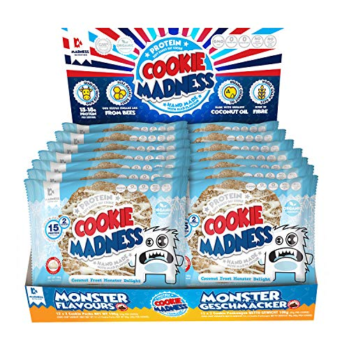 Madness Nutrition Cookie Madness Eiweiß Keks Box, 12 x 106g, (Coconut Frost Monster Delight)