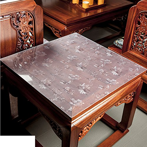 XKQWAN PVC Transparente tischdecke Wasserdicht Quadratische Quadratische tischdecke Kunststoff tischdecken Nachttisch Kristallplattenmatte Untersetzer-E 24 * 24in (Kunststoff-platten Quadratisch Durchsichtigen)