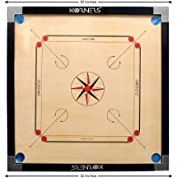 KORNERS Professional Carrom Board Full Size Round Pocket Matte Finish Carrom Board with Coins, Striker & Powder (4mm)