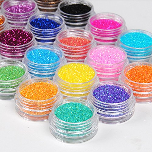 Glitzer Glitzerpulver Glitzer-Staub Glitter für Glitzer Tattoo´s Set 24 Farben -