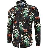 Camisas de Hombre Camisa de Manga Larga con Estampado de Calavera, Tema de Halloween Tops Botones de Solapa Blusa Dobladillo