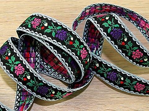 Woven Floral Design Jacquard Ribbon Braid Trimming - per 2