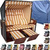 XINRO® - XY-04 - Polyrattan Strandkorb inkl. Deluxe Strandkorb Schutzhülle & 4x Kissen - orange-gestreifter Stoff - braunes Holz - Nordseeform
