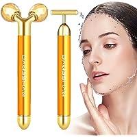 2-EN-1 Beauty Bar 24k Golden Pulse Massage Facial Visage Massager, 3D Roller Électrique Sonic Energy et T Shape Visage…