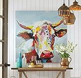 Orlco Art Ölgemälde, 100% handbemalt, Kuh, gedehnt und gerahmt, fertig zum Aufhängen, für Wohnzimmer, Dekoration, bunte Kuh, Colorful Cool Cow, 24x24inch