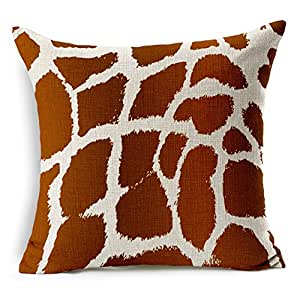 "SilkCrane Housse de Coussin, Vintage Animal Texture Giraffe Print Cotton Linen Decorative Throw Pillow Case Cushion Cover, 17.7"" x 17.7"""