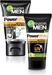 Garnier Men Power White Double Action Face Wash, 100gm + Garnier Men Power White Moisturizer, 40g