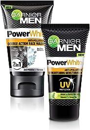 Garnier Men Power White Double Action Face Wash, 100gm + Garnier Men Power White Moisturizer, 40g
