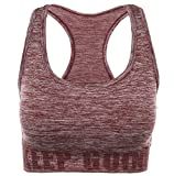Disbest Damen Sport-BH, Yoga BH Starker Halt Fitness-Training Strech BH Bustier Push up Top Sports Bra mit Polster ohne Bügel (38/M, Wine Rot)