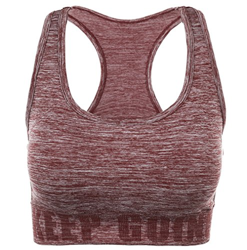 Disbest Damen Sport-BH, Yoga BH Starker Halt Fitness-Training Strech BH Bustier Push up Top Sports Bra mit Polster ohne Bügel (38/M, Wine Rot)