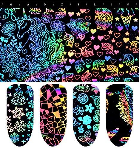Jixing Holographische Aufkleber Maniküre Nagel Folie Laser Elegante Maniküre Folie Nail Art Transfer Aufkleber