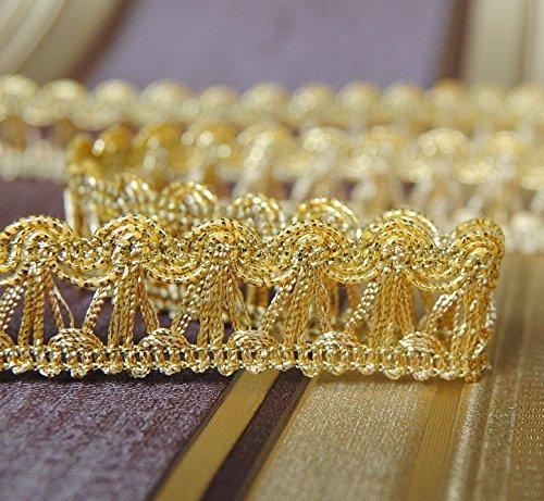 Mosel Avenue Art & Gobelin Studio 3,0 m x Luxus Metallisiertes Zierband 16 mm Lurex Gold/3,0-6,0-9,0m uzw/1,3 €/m/Bordüre Brokat Goldborte...