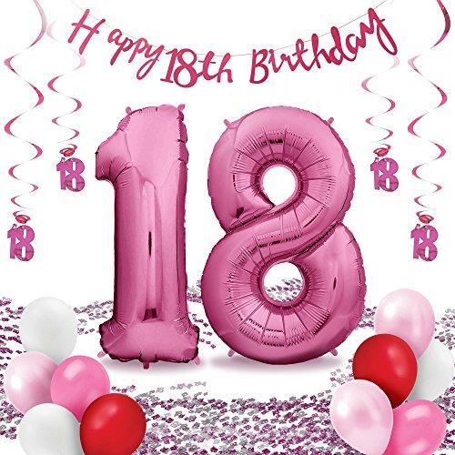 Zenball Folienluftballon Set 18 - für die perfekte Überraschung zum 18.: XXL Luftballon pink (100cm) + Konfetti + Happy Birthday Girlande + Hängedeko + 10 Luftballons - 18