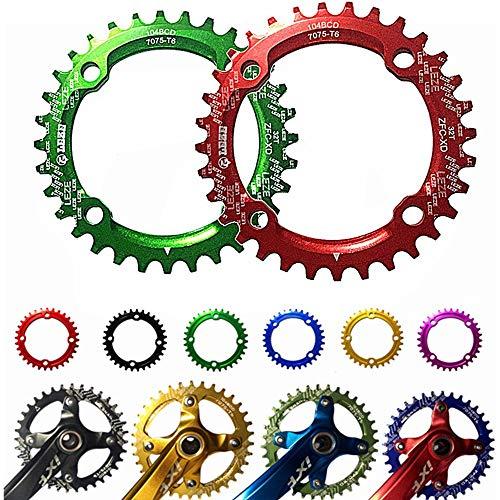 Geschwindigkeit Fahrrad Kettenblatt, BCD 104MM Kettenblatt MTB Fahrrad Schmale Breite Runde Oval Einzelkette Ring 32t / 34t / 36t für Rennrad, Mountainbike, BMX MTB Bike