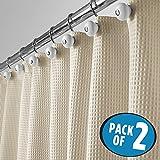 mDesign Juego de 2 cortinas de ducha de lujo en tejido de mezcla de algodón – Cortinas de baño de estilo con estampado de barquillo – Accesorio para ducha y bañera de fácil limpieza – beige