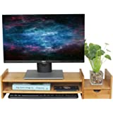 DlandHome Rehausse Bureau avec Rengement Ordinateur Moniteur/TV Accentuer Bambou Stand Dock Titulaire Affichage Support Unive