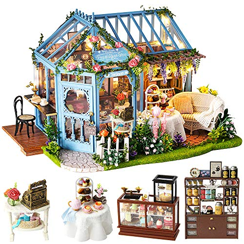 CuteBee Puppenhaus Miniatur mit Möbeln, DIY Holz Puppenstuben-Kit, Maßstab 1:24 kreativer Raum für Tagesgeschenkidee Valentinstag. Mehrfarbig