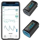 Viatom zuurstofverzadigingsmonitor met gratis app voor volwassenen en kinderen, bloedzuurstofverzadigingsmonitor voor hartsla