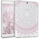 kwmobile Funda transparente para Samsung Galaxy Tab S2 9.7 carcasa de silcona TPU para tablet funda protectora con Diseño sol indio en rosa claro blanco transparente
