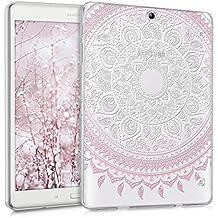 kwmobile Funda transparente para Samsung Galaxy Tab S2 9.7 T810N/T813N/T815N/T819N carcasa de silcona TPU para tablet funda protectora con Diseño sol indio en rosa claro blanco transparente